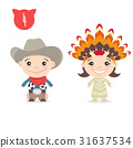Two happy cute kids cowboy characters.  31637534