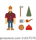 vector, lumberjack, axe 31637570