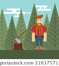 Vector illustration of lumberjack in the wood. 31637571