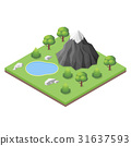 Isometric mountain lake in the woods. 31637593