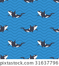Vector seamless pattern with killer whales  31637796