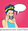 Vector illustration of pop art young woman  31637826