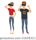 man and woman with virtual reality glasses 31638321
