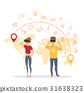 man and woman with virtual reality glasses 31638323