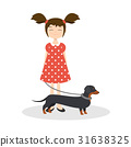 Happy smiling girl with her dachshund 31638325