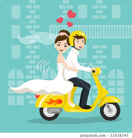 newlyweds bride and groom riding on scooter 31638345