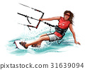 Young woman kiteboarding 31639094