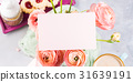 Pink greeting card and flowers 31639191