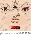 Sushi flat concept icons 31639520