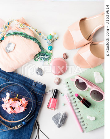 Summer lifestyle woman clothes flat lay 31639614