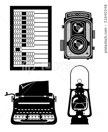 objects old retro vintage icon stock vector  31640348