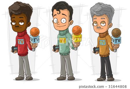 Cartoon tv journalist character vector set 31644808
