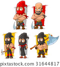 Cartoon slayer with big axe character vector set 31644817