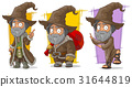 Cartoon wizard with big hat character vector set 31644819