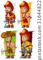 Cartoon fireman in uniform character vector set 31644822