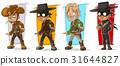 Cartoon sheriff and cowboy character vector set 31644827