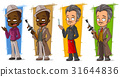 Cartoon gangsters and detective character set 31644836