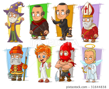 Cartoon cool funny different characters vector set 31644838