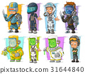 Cartoon soldier scientist with mask character set 31644840
