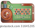 Casino roulette wheel with casino chips  31645205