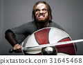 Viking with sword and shield the grey background 31645468