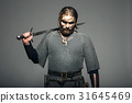 Viking with his sword on the grey background 31645469