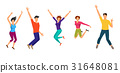 Jumping Boys and Girls. Happiness People Isolated 31648081