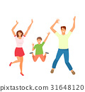 Father, Mother and Son Jumping. Happy Active 31648120