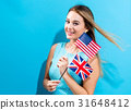 Woman with flags of English speaking countries 31648412