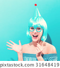 Beautiful woman in a bright blue wig 31648419