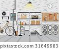 Modern interior storage room with metal shelf. 31649983