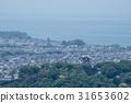 From Hikone city in Hikone city overlooking Sawayama castle track towards Lake Biwa 31653602