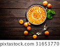 Apricot cake or pie with fresh fruits, cheesecake 31653770