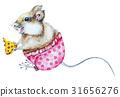 Watercolor cartoon mouse 31656276