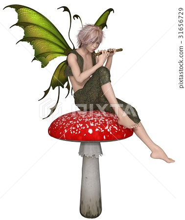 Fairy Flute Boy Sitting on a Toadstool 31656729