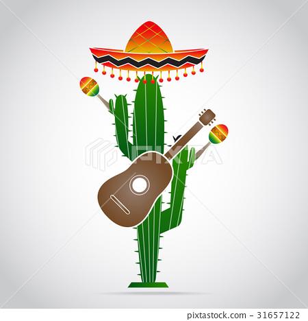 Sombrero cactus, guitar, mexican style 31657122