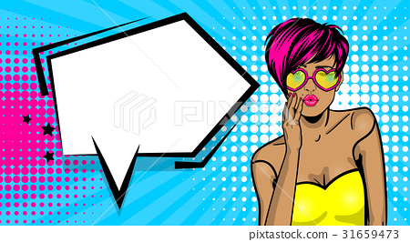 Cool woman pop art comic text speech bubble 31659473