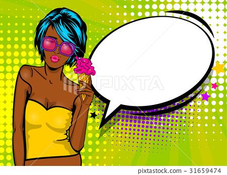 Cool woman pop art comic text speech baloon 31659474