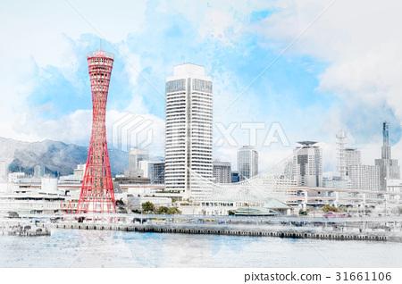 skyline of Kobe harbor mix sketch illustration 31661106