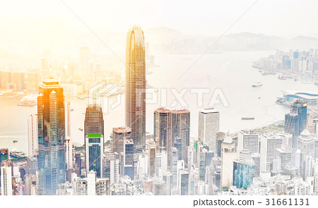 Skyline of Hong Kong HK mix sketch illustration 31661131