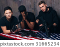 American mercenaries with weapons. 31665234