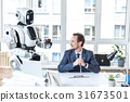 businessman, robot, office 31673501