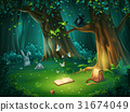 Vector illustration forest glade with raven, book 31674049