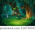 Vector illustration forest glade hare butterflies 31674050