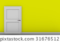 Yellow vintage room with white door 31676512