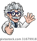 Scientist Cartoon Character Sign Thumbs Up 31679918