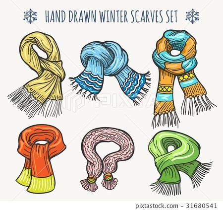 Woolen fashion winter knitted scarf set 31680541