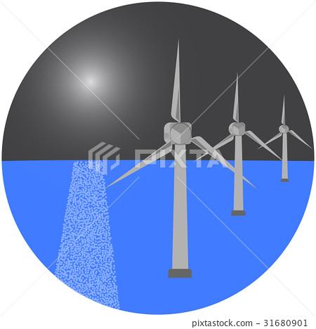 Modern windmills in the sea. vector illustration. 31680901