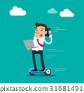 Businessman holding laptop on hoverboard talking o 31681491
