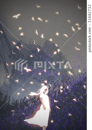 woman in white dress standing among birds 31682732